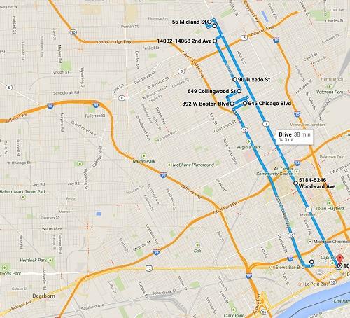 Tour Route 2014 Detroit