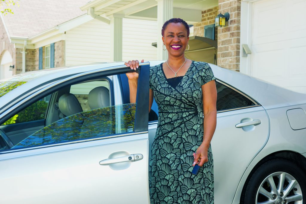Michelle with her new car